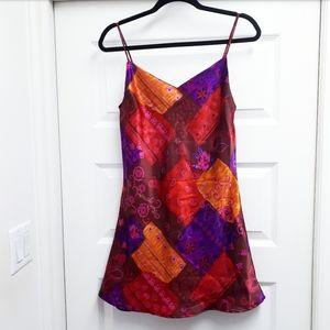 BOLD PATCHWORK PRINT SATIN SLIP DRESS BY L…